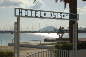 Entrance to the hotel's waterfront terrace