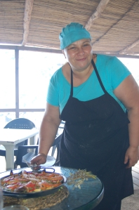 Paula delivers our paella