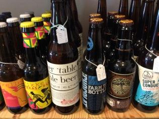 Bottled beers in shop