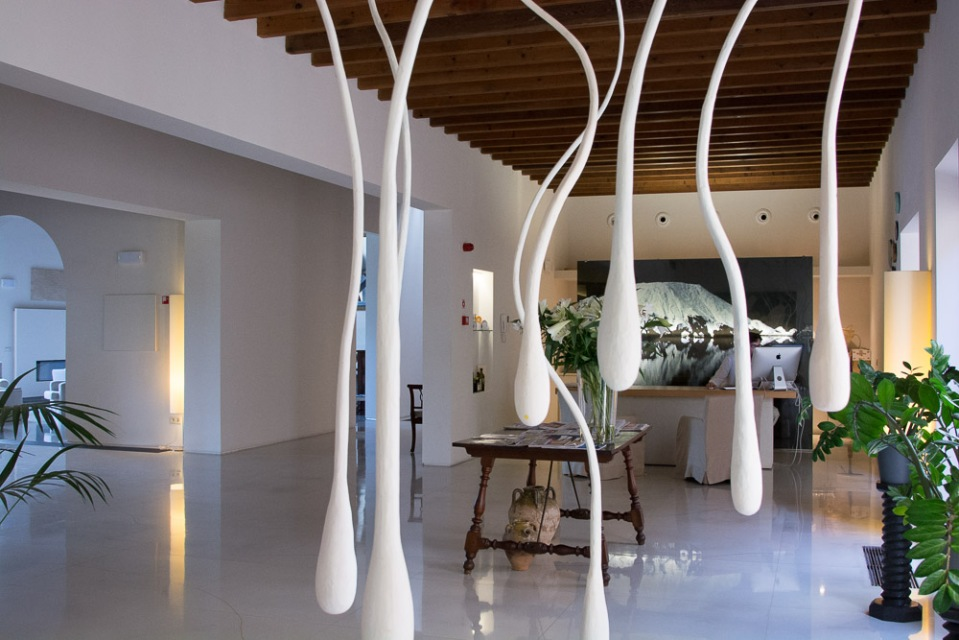 There's a heartwarming story behind this art installation of sperm (!), located in the hotel foyer.