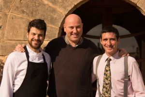 L-R: Chefs Andrés Benítez and Tomeu Caldentey with Manuel Pérez, outside Taronja Negre.