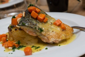 Grilled salmon with mustard and pine nut sauce - enjoyed during menu del día at Aromata recently.