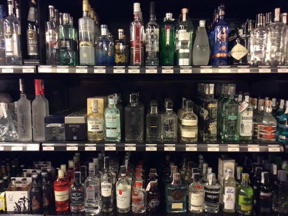 Catavinos also sells spirits and other liquors. This is a small selection of the gins . . .