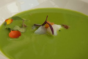 Chilled soup on lunch menu at Simply Fosh