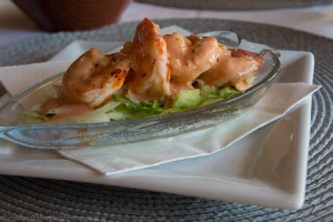 A delicious starter: chili king prawns