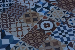 Tiled floor at San Juan Gastronomic Market.