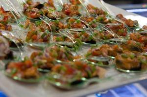 Seafood spoon food.