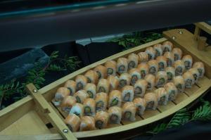 Sushi boat at San Juan Gastronomic Market.