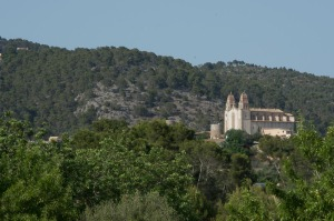 The church in nearby Calvia, from our balcony.