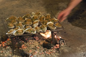 Our appetizer, cooked over an open wood fire.