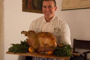 Chef and turkey.