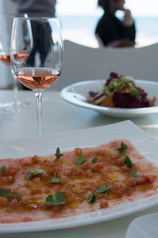 Carpaccio of Mallorcan red prawns.