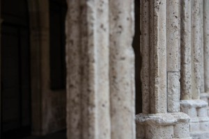 Old but elegant, the pillars in lovely Sant Francesc cloisters.