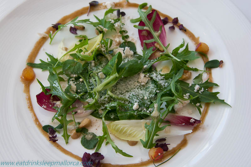 Spring on a plate! Spring leaves, raisin puree, pine nuts, plums, and a smoked oil.