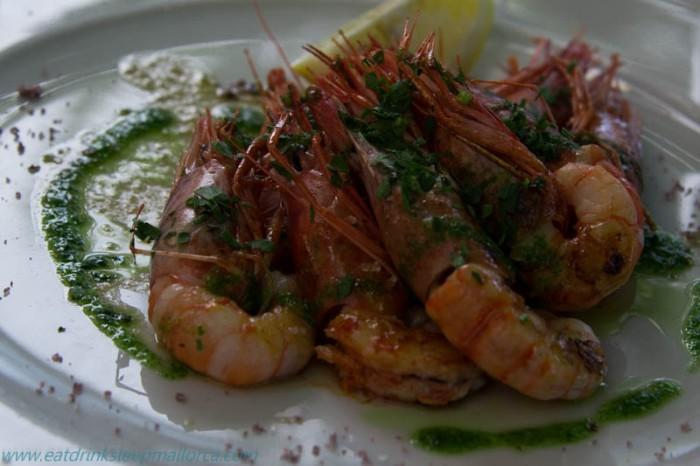 Grilled prawns at Cafe Miro