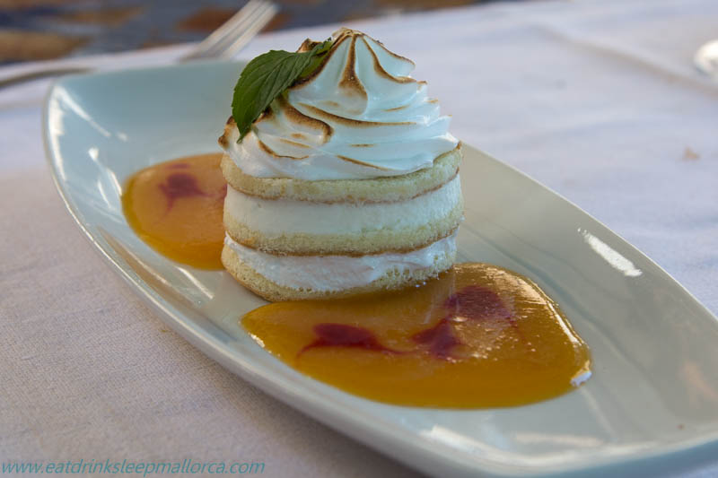 Meringue pastry with apricot sauce (9 euros)