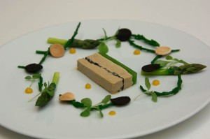 Foie gras terrine with green asparagus, samphire and fresh truffle