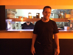 Chef Tomeu in front of his modern kitchen