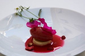 Orange-blossom cream, wild strawberries, toasted strawberry sorbet, with chilled hibiscus and strawberry-leaf infusion
