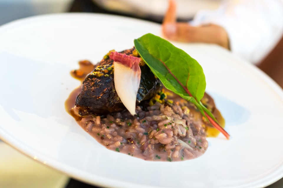 Beef brasato with Barolo and radicchio risotto