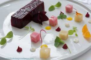 Beetroot terrine with horseradish and orange oil