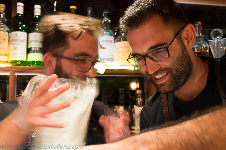 Matias Iriarte (right) at work on his cocktail