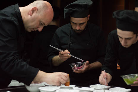 Tomeu Caldentey (left) assembling one of the Bou Concept dishes we enjoyed in March this year.