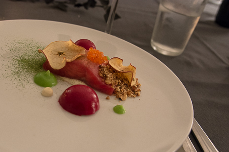 Trout, beetroot, and apples