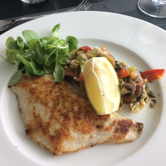 Grilled sea bream with vegetables