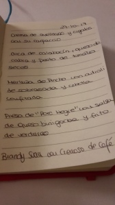 Menu written in notebook at Arrels by Marga Coll