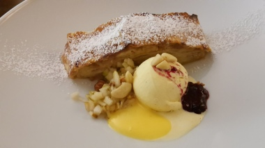Apple strudel and ice cream