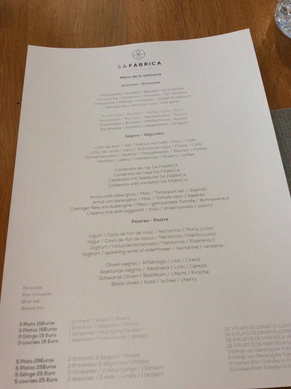 Example of a weekday menu at Sa Fabrica, Inca