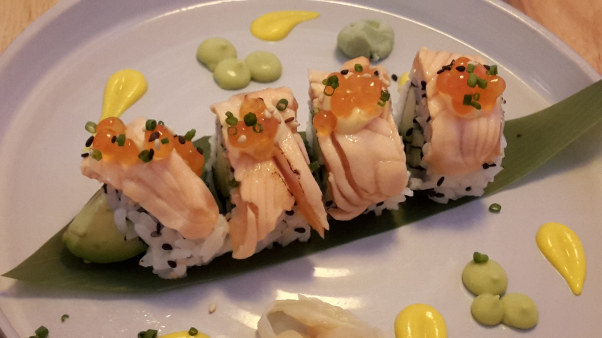 Salmon roll - starter on lunch menu at Fera