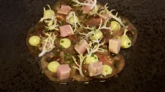 Tomato carpaccio with spring onion in Balsamic vinegar and tuna