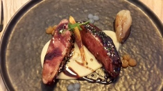 Magret of duck with five spices, apple puree, and pear chutney