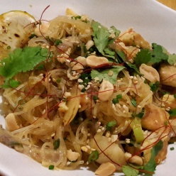 Main course Pad Thai with prawns on Arume's lunch menu
