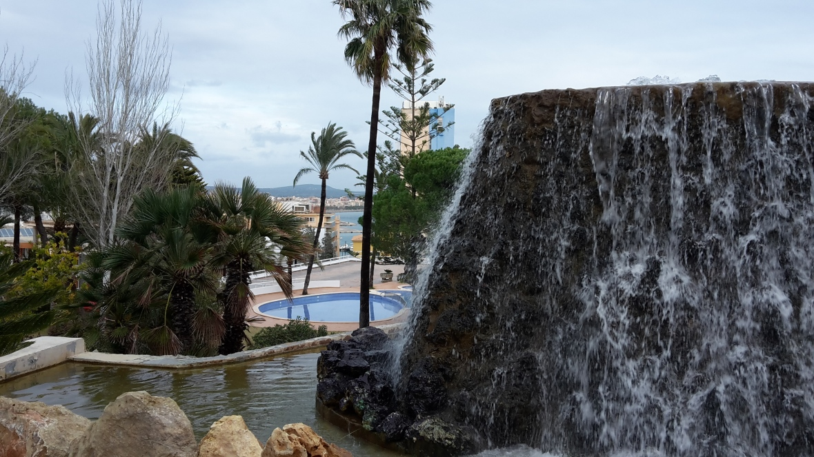Water feature at the front of Valparaiso Palace & Spa in Palma, Mallorca