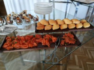 Smoked salmon on the starters buffet