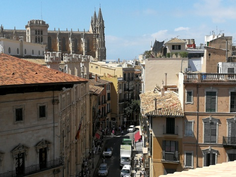 One of the roof terrace views, looking over the beautiful city of Palma, with art of the town hall on the left front and La Seu Cathedral to the rear left.
