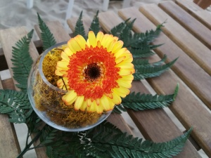 A table flower arrangement at Ponderosa Beach