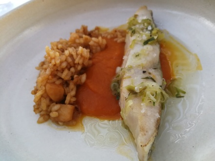 Corvina with roasted pumpkin rice
