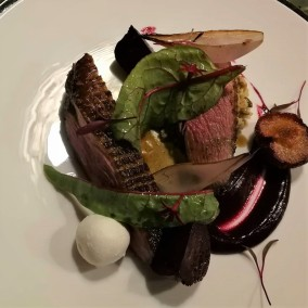 Smoked duck breast, beetroot, plum, and goat's cheese