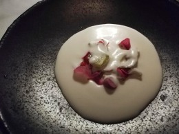 Cold soup with Mallorcan almonds, sweet prawn, and beetroot meringue. Silky smooth soup and so delicious