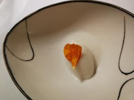 Lychee sorbet with nasturtium petal