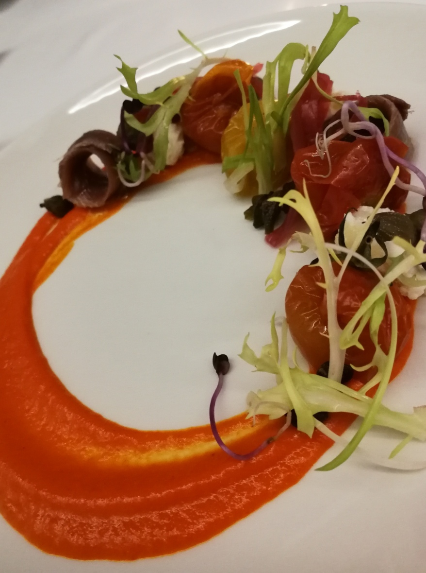 Slow-cooked tomato salad at Apolonia, Hotel Can Mostatxins, Alcudia