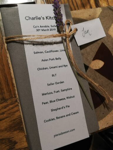 The Charlie's Kitchen menu March 30th 2019