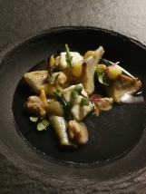 Artichokes wth cockles and preserved lemon