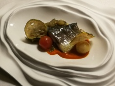 Golden mackerel (or lightning fish) with aubergine caviar and red pepper sauce