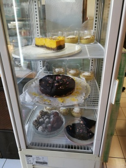 Vegan desserts and cakes on display