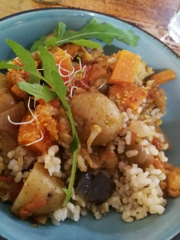 Our vegan curry with wholegrain rice for lunch